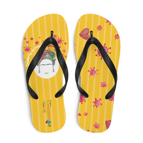 Yellow 'Greatest treasures' flip-flops