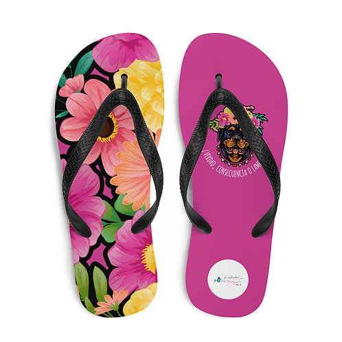 Fuchsia 'Loving dog' flip-flops