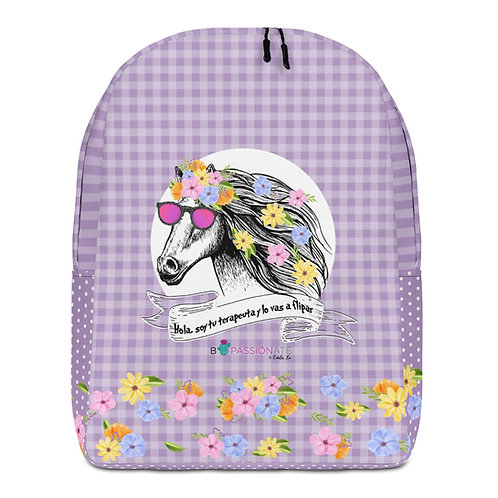 Large purple 'Therapist horse' backpack