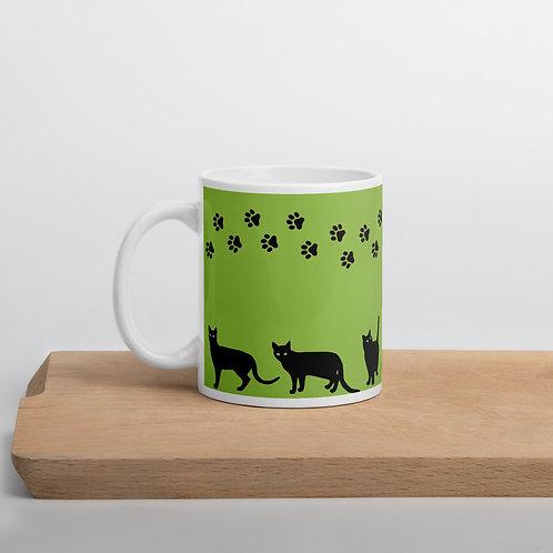 Green 'Lucky cat' mug