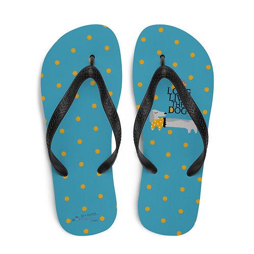 Blue 'Long live the dog' flip-flops