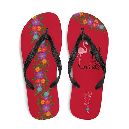 Red 'Cat in love' flip-flops