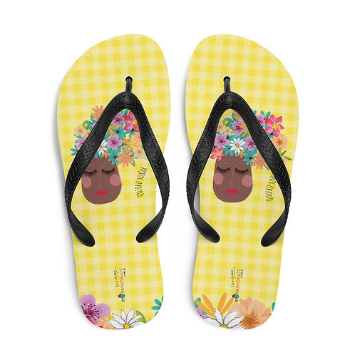 Yellow 'I want to dream' flip-flops