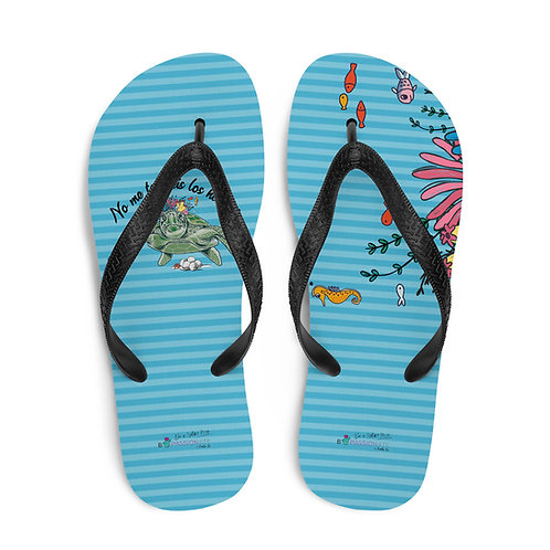 Blue 'Great turtle' flip-flops