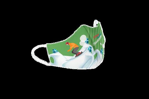 Green reusable 'Plastic Championship' mask