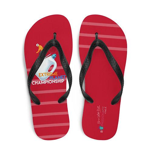 Red 'Plastic Championship' flip flops