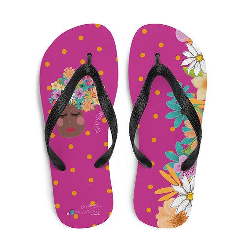 Fuchsia flower 'I want to dream' flip-flops