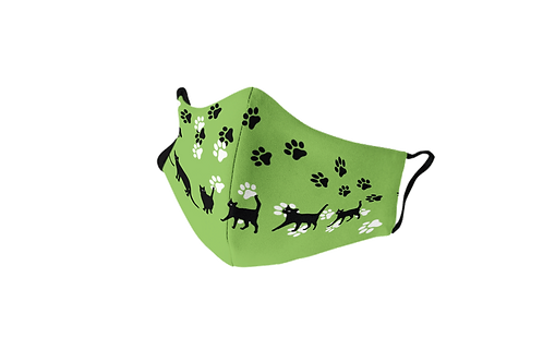 Green reusable 'Lucky cat' mask
