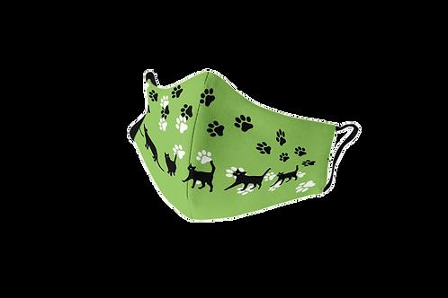 Mascarilla reutilizable verde 'Lucky cat'