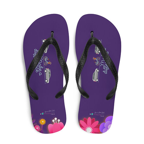 Purple 'Make a difference' flip-flops