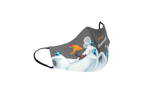 Gray reusable 'Plastic Championship' mask