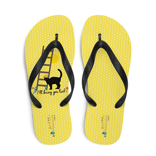 Yellow 'Lucky cat' flip-flops