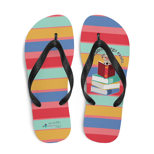 With colored stripes 'The smart dog' flip-flops