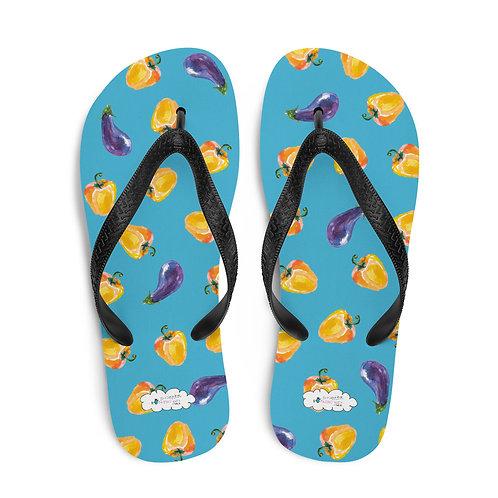 Blue 'Veggie lover' flip flops