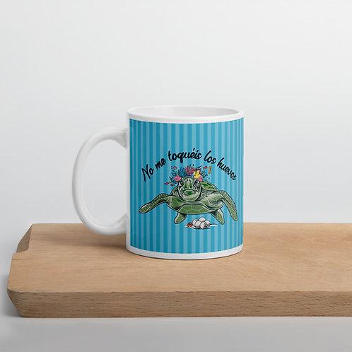 Taza azul 'Tortuga cojonuda'