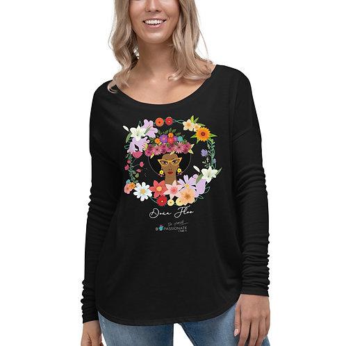 Flowy long sleeve T-shirt 'Mis Flowers'