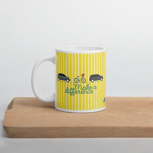 Yellow 'Make a difference' mug