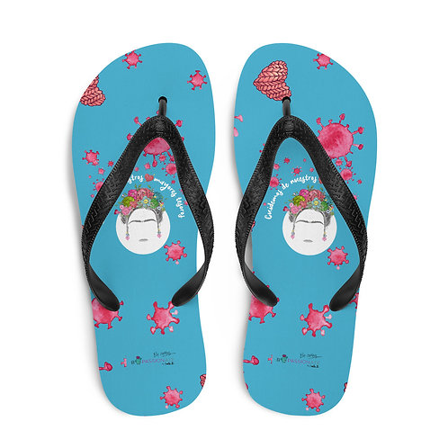Blue 'Greatest treasures' flip-flops