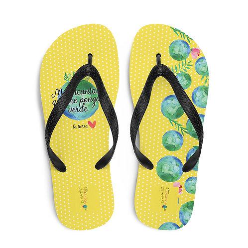 Yellow 'Planet lover' flip-flops