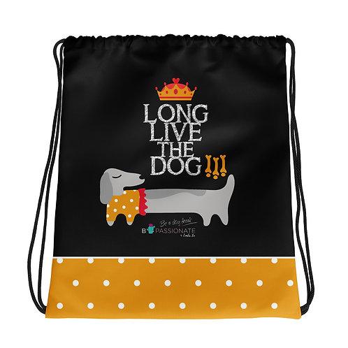 Basic black 'Long live the dog' backpack