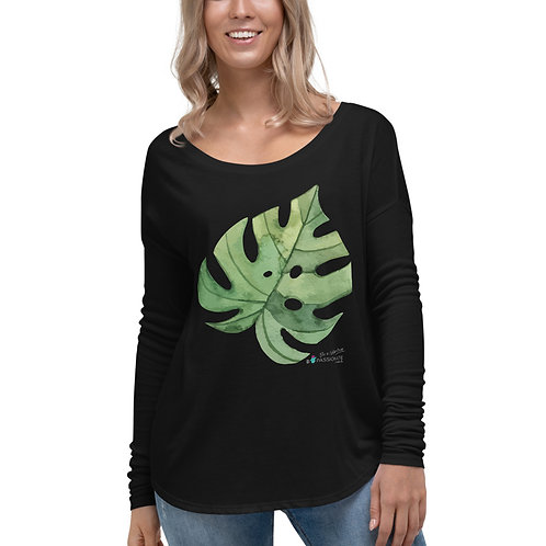 Flowy long sleeve T-shirt 'Green Passion'