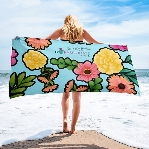 Blue 'Loving dog' towel