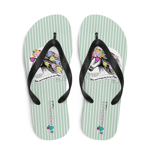 Green 'Therapist horse' flip-flops