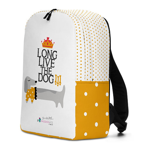 Large white 'Long Live the Dog' backpack