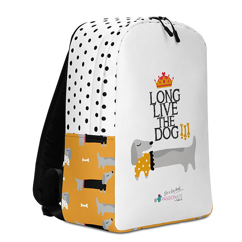 Large white with black dots 'Long Live the Dog' backpack