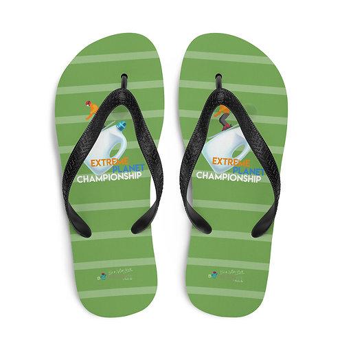 Green 'Plastic Championship' flip flops
