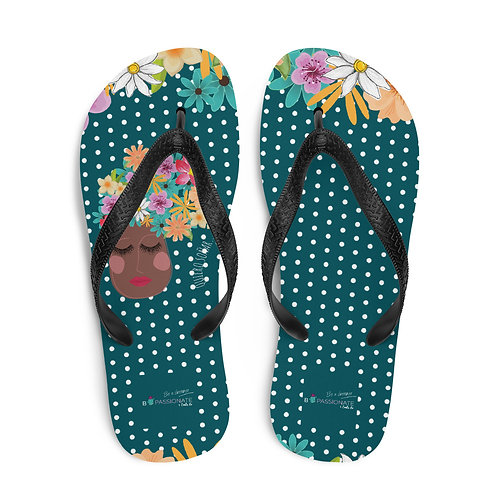 Green 'I want to dream' flip-flops