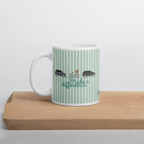 Green 'Make a difference' mug