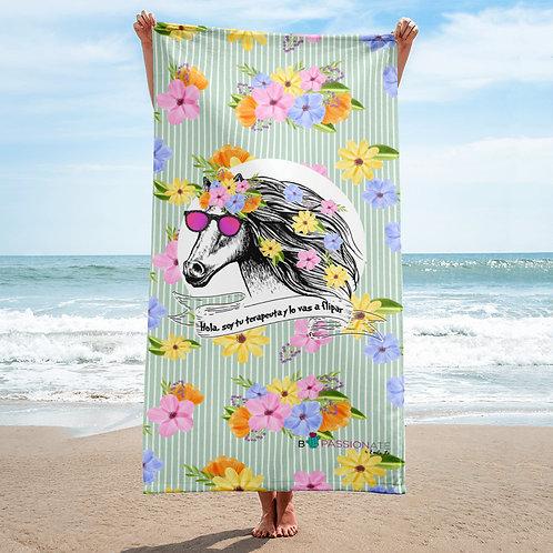 Green 'Therapist horse' towel