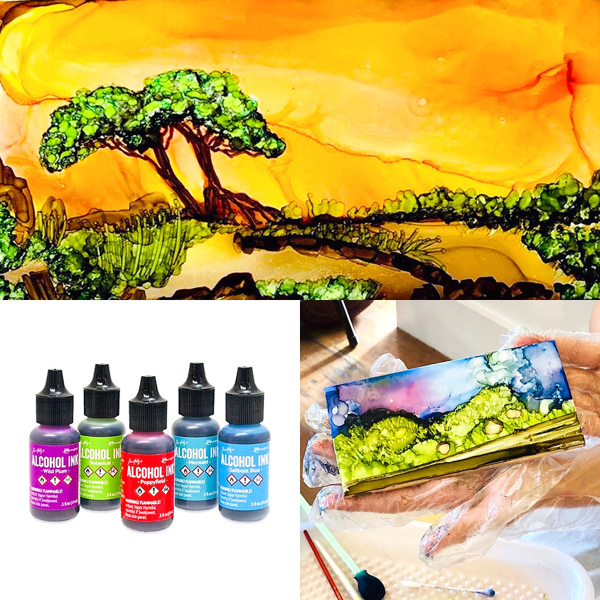 Fun with Alcohol Ink!  - Sunset Tree Design