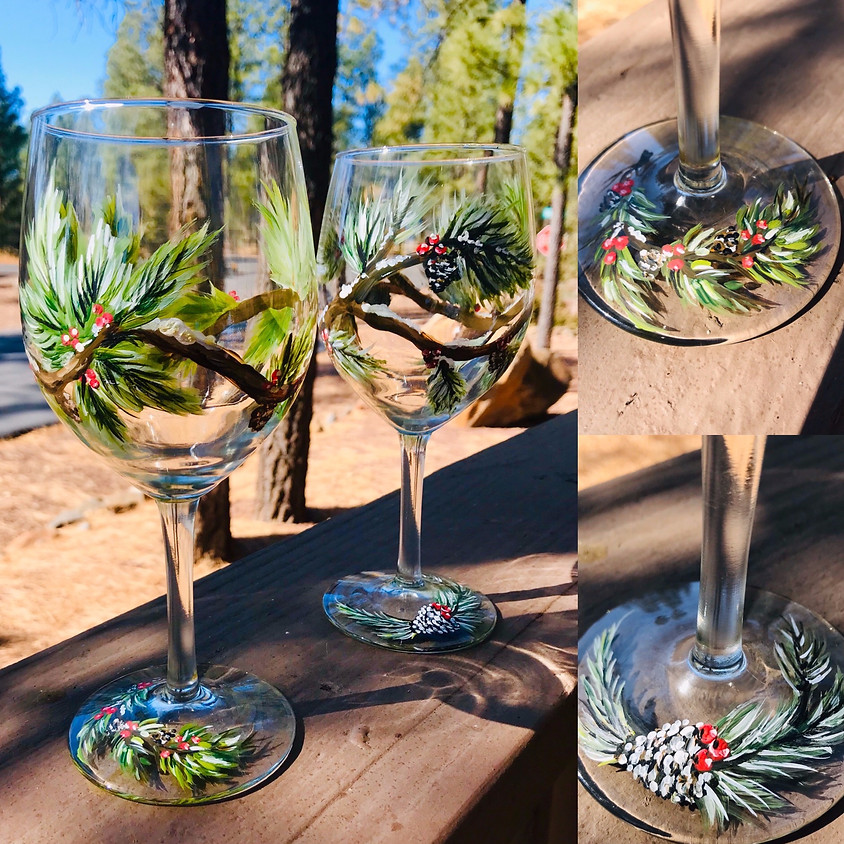 Wine Glass Painting - Festive Holiday!