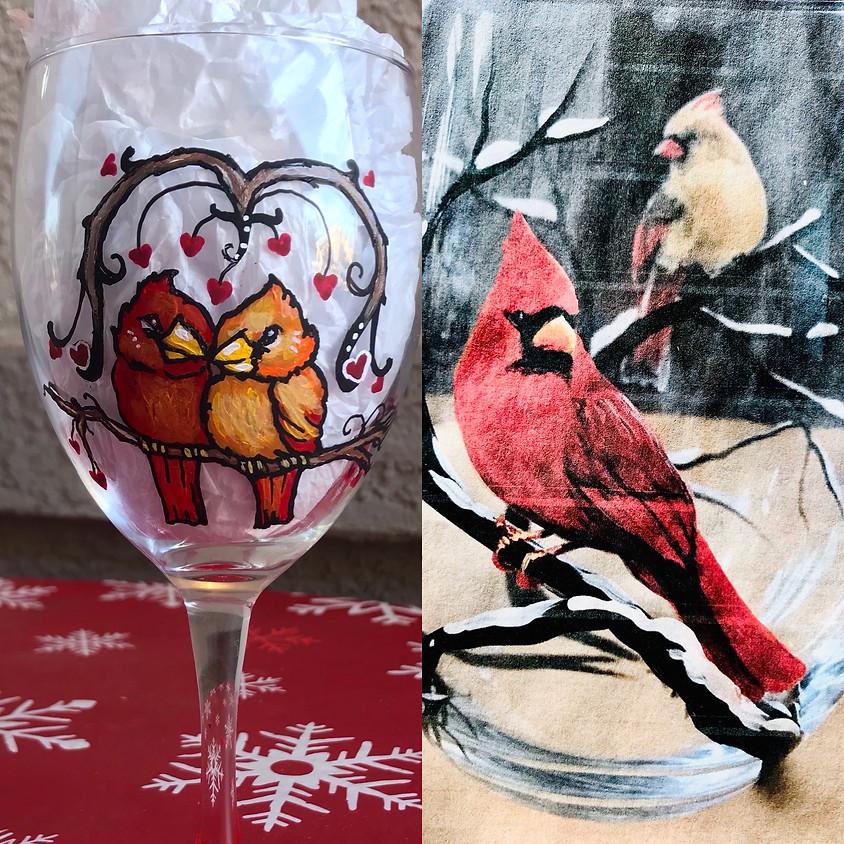Wine Glass Painting - Arizona Love Birds