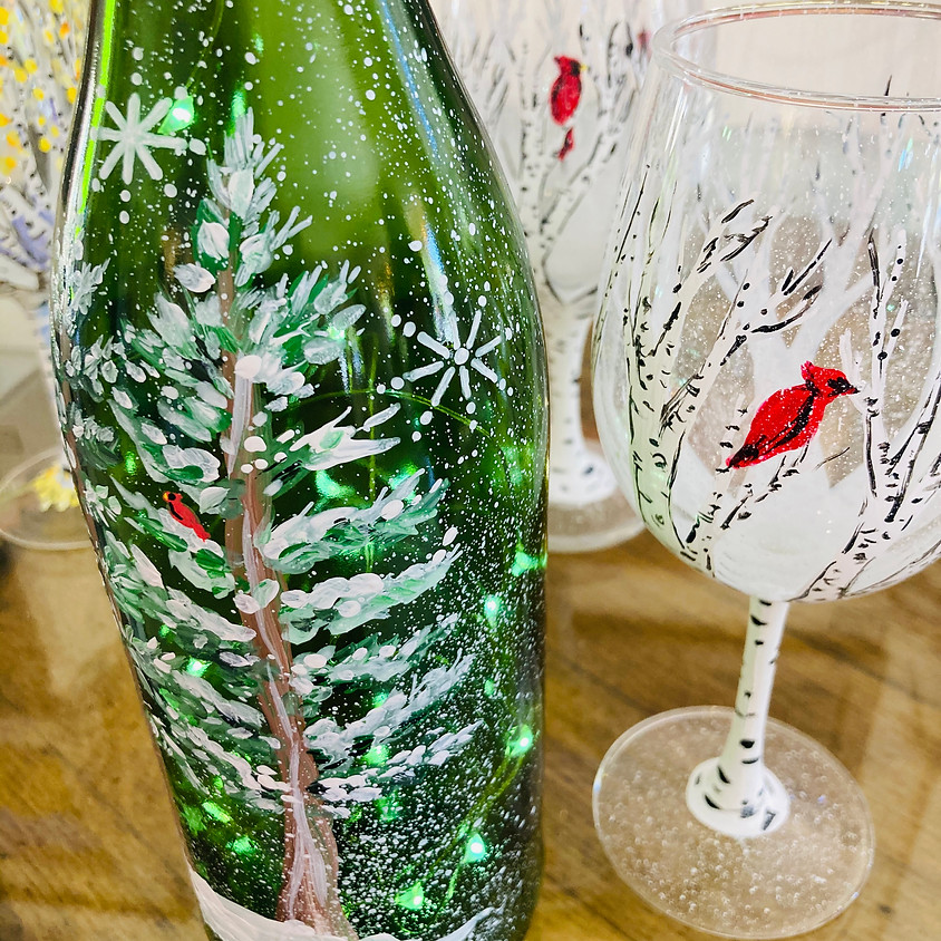 Wine Glass Painting - Festive Holiday
