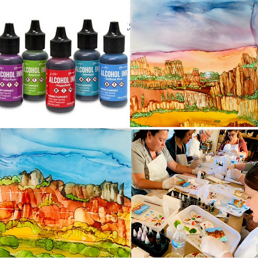 Fun with Alcohol Ink - Landscapes