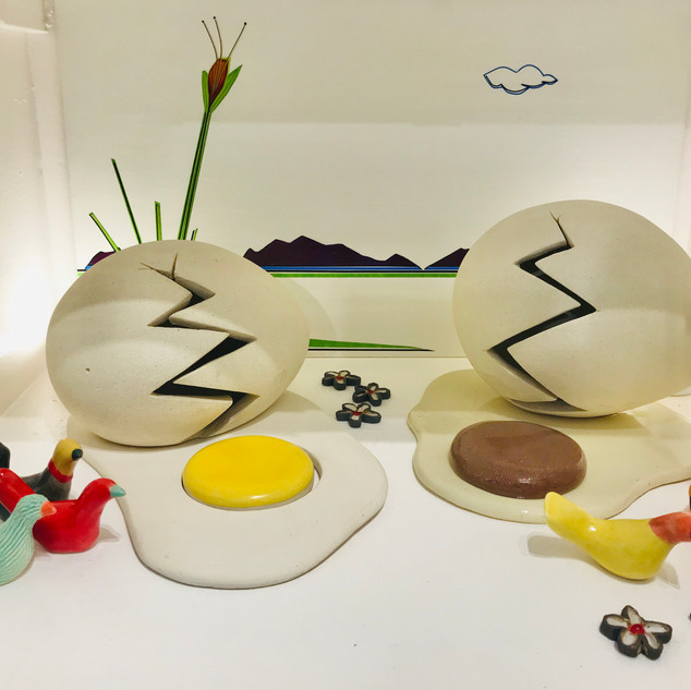 Egg and Bird Sculptures. Available at The Muse Gallery.