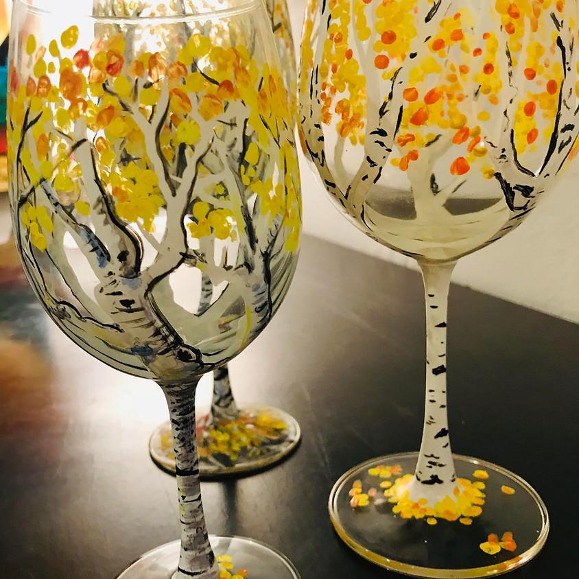 Wine Glass Painting - Aspen Trees