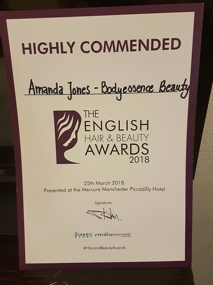 Very excited to have been ruuner up at The Engish Hair & Beauty Awards for Masseuse of the Year 2018