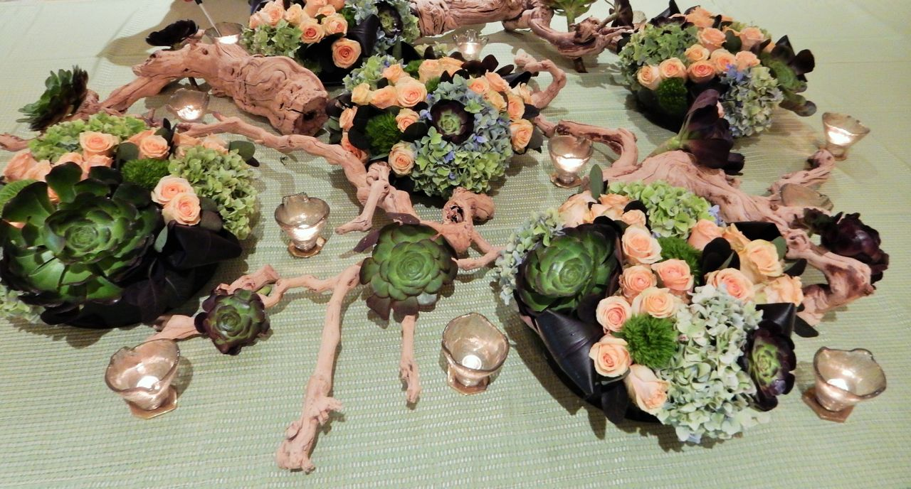 Banquet Table Succulent Centerpiece