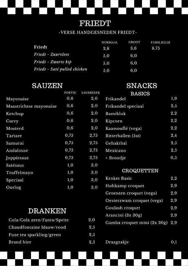Friedt Maastricht menu