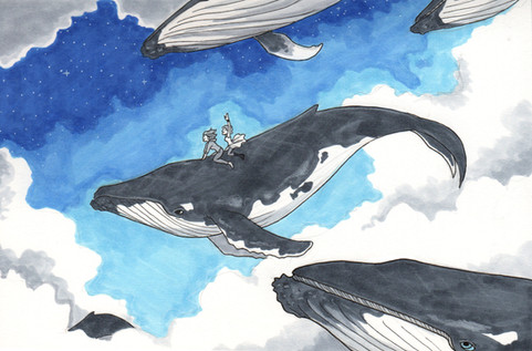 Inktober Whale Riders