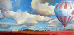 la beauce des montgolfières huile sur toile 95x197cm