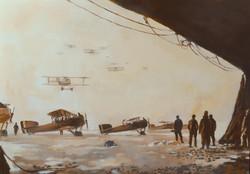 Breguet au sol, depart d'une mission de reconnaissance, Hiver 1917 92x73cm