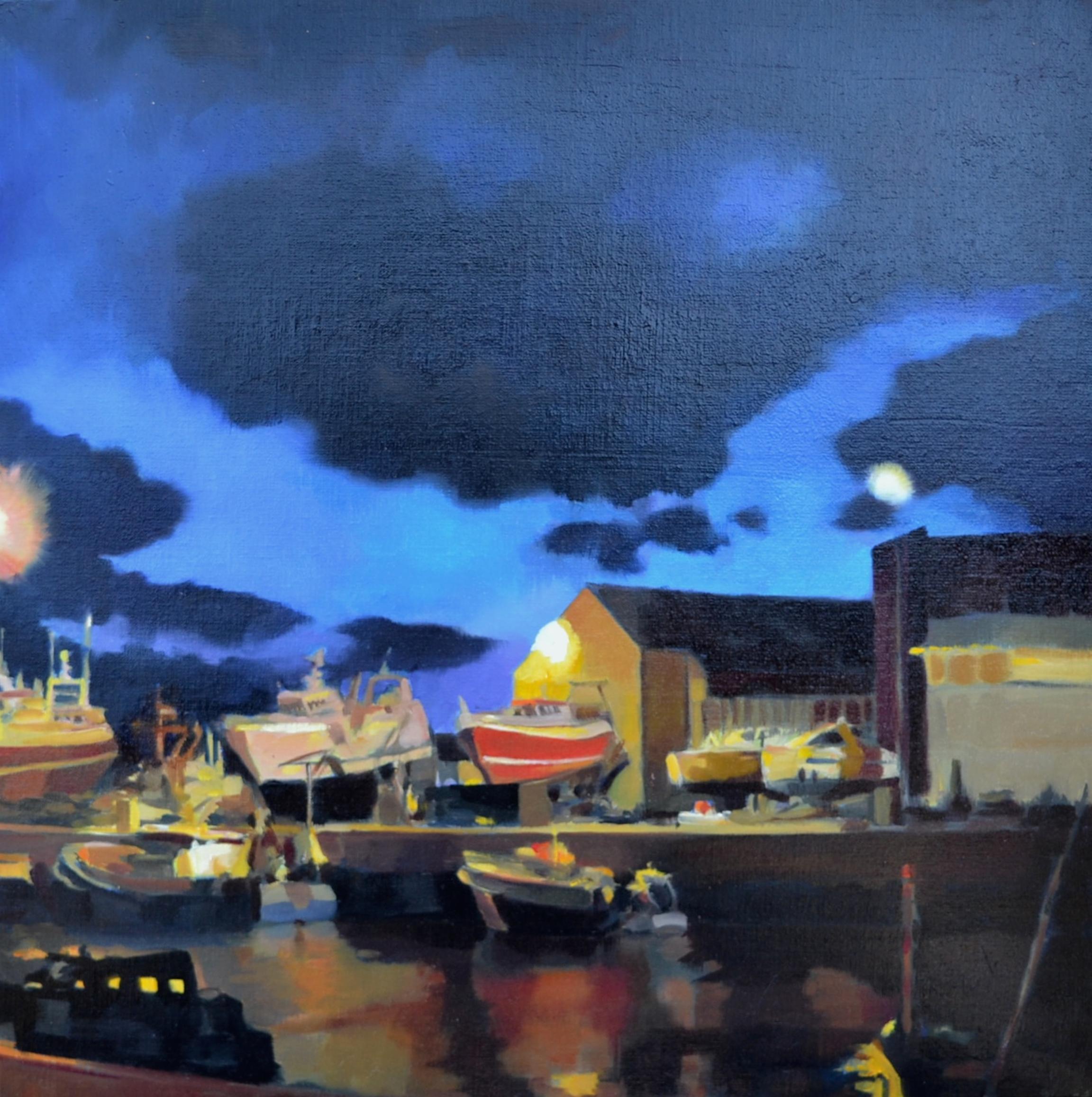 ©RocheGardies  Crépuscule aux Sables d¹Olonne, huile sur toile 50x50 (2).JPG