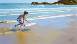 ©RocheGardies  Skimboard  sur la grande plage, huile sur toile 27x46 c.JPG