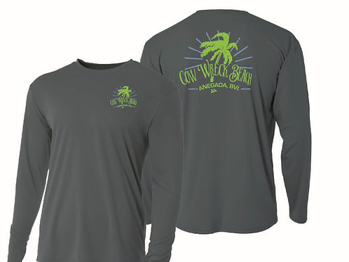 Cow Wreck Beach Palm Tree UV - Long Sleeve - GRAPHITE