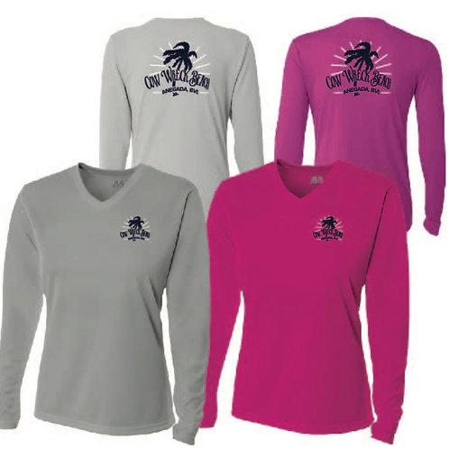 Women Cow Wreck Beach V-neck Long Sleeve  UV Sun Shirts